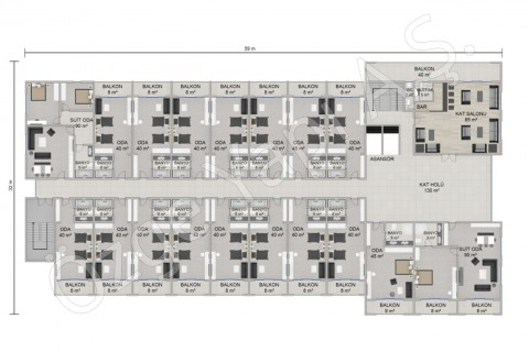 الفندق 8115 مترًا مربعًا - الطابق الأول والثاني
