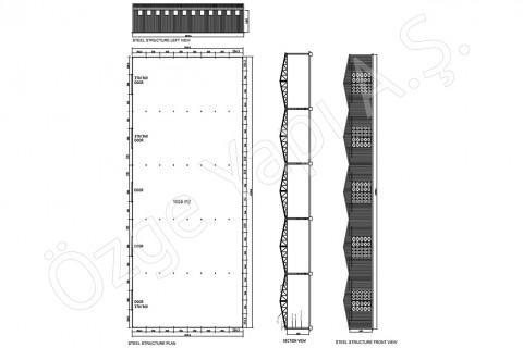 الهيكل الفولاذي 1000 متر مربع