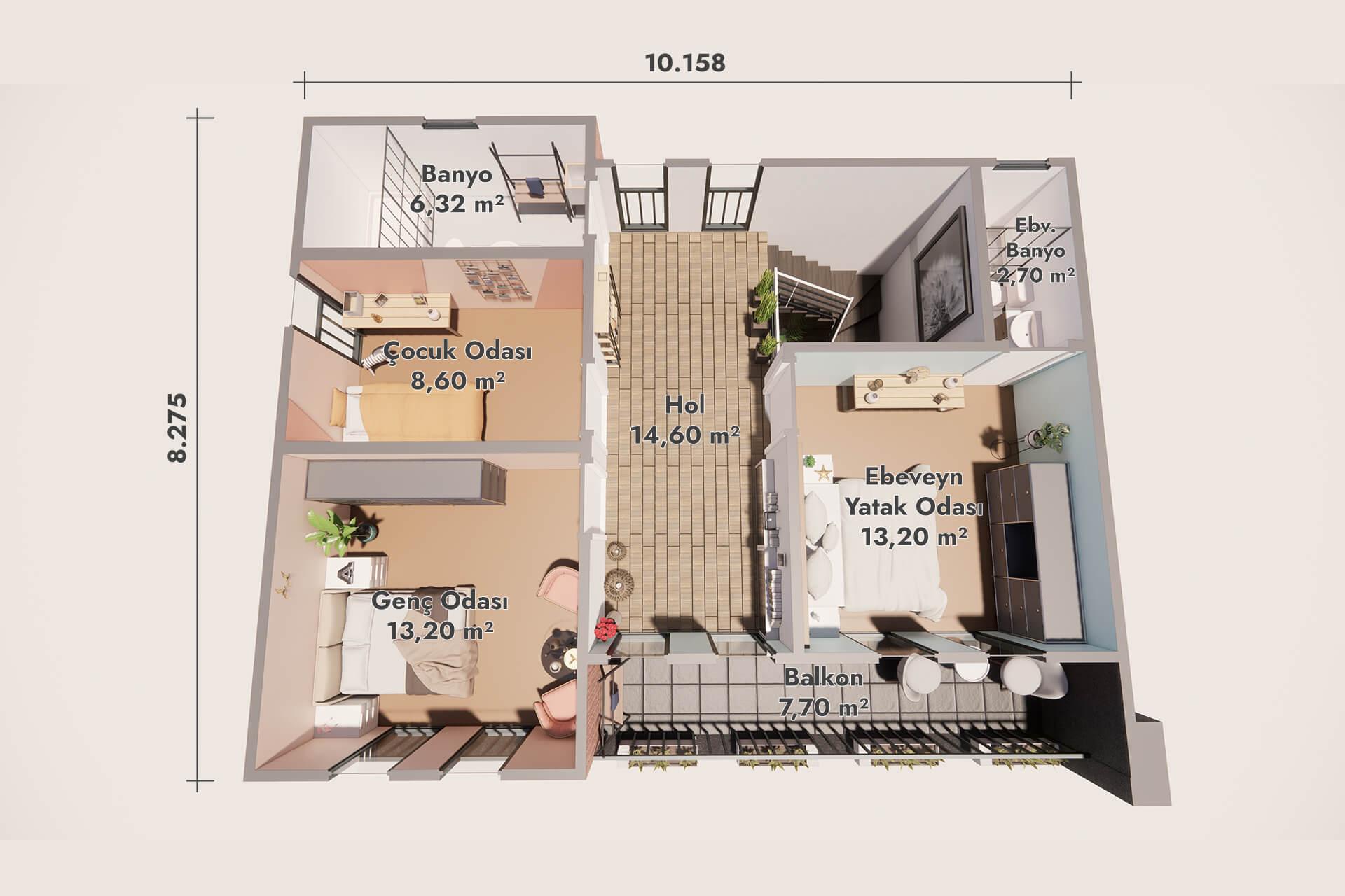 فيلا حديثة جاهزة الصنع 160 م 2 - الطابق الأرضي
